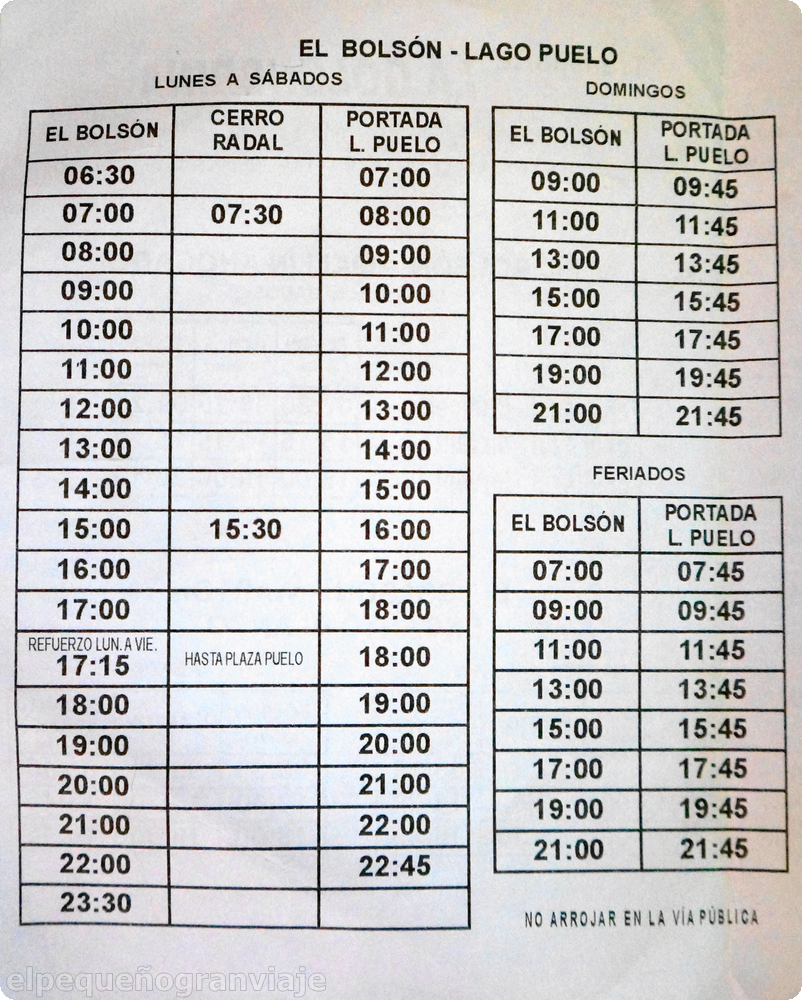 El Bolsón Lago Puelo, horarios
