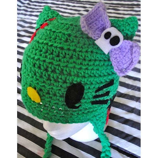 Hello Kitty zombie crochet hat with ears