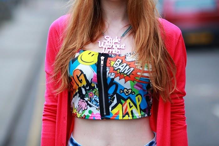 miss rebel, comic top, crop top, colours, crazy