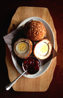 scotch egg, oatmeal, lingonberry