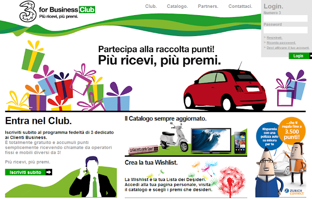 Raccolta punti Tre for Business Club