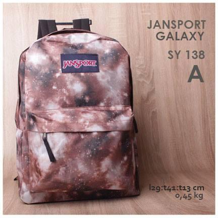 jual online tas ransel jansport motif galaxy warna terbaru brown harga murah