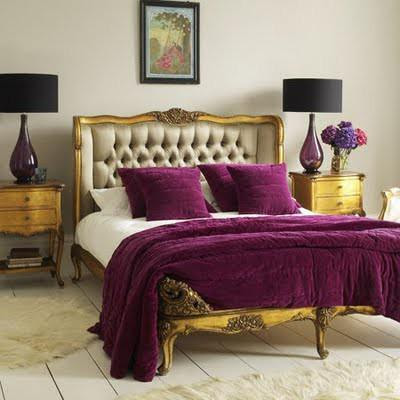 Theme design purple and gold color combination before and after Royal purple master bedroom