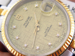 TUDOR PRINCE DATE - 10 DIAMONDS INDEX GOLD LINEN DIAL GOLD FLUTED BEZEL - AUTOMATIC