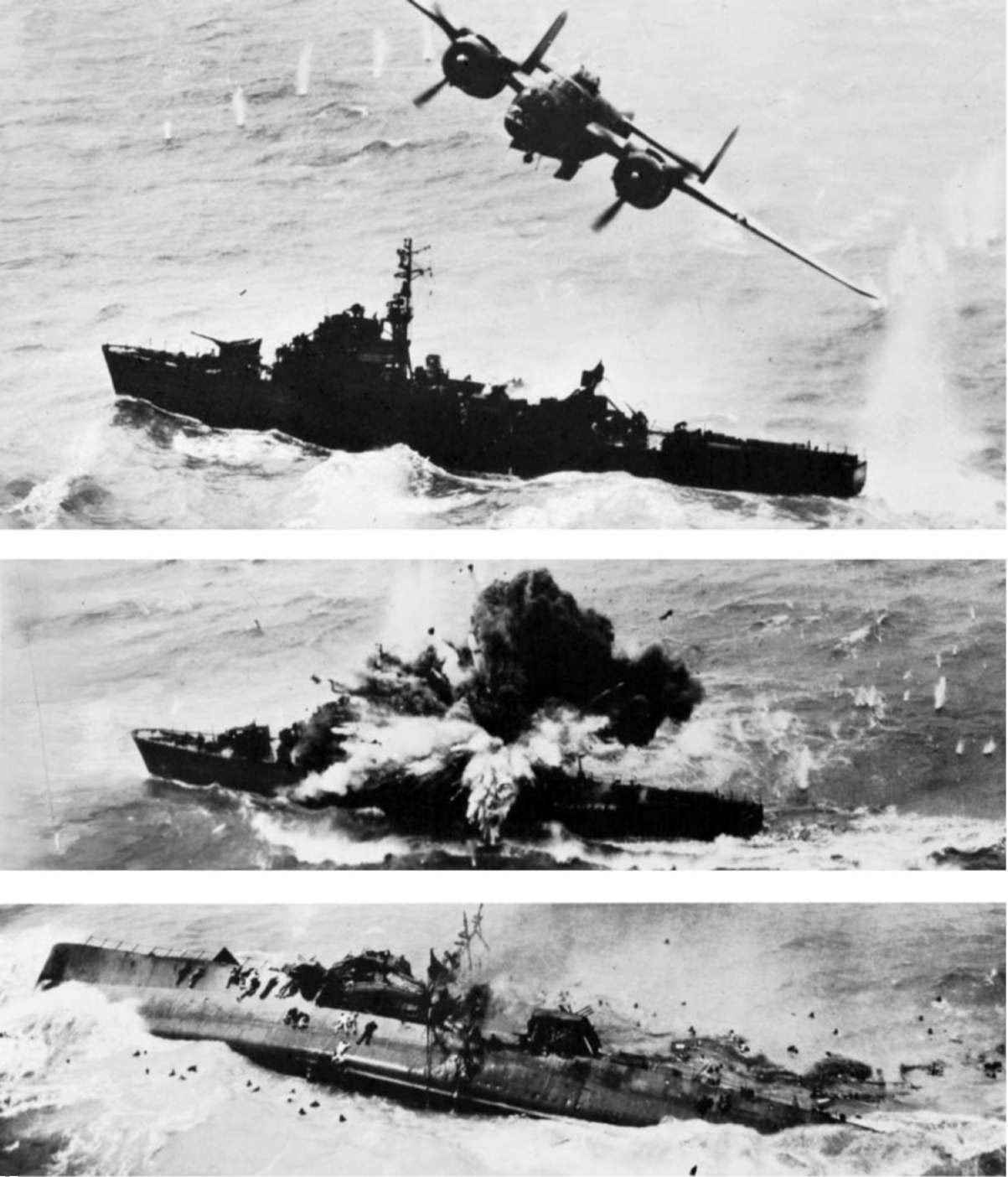 USAAF+B-25+sinks+Japanese+destroyer+Amat