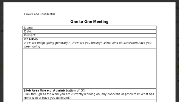 1 To 1 Meeting Template Meeting Minutes Template Meeting Minutes – One on One Meeting Agenda Template