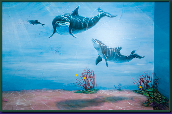 Aquarium room wall mural for Aquarium mural