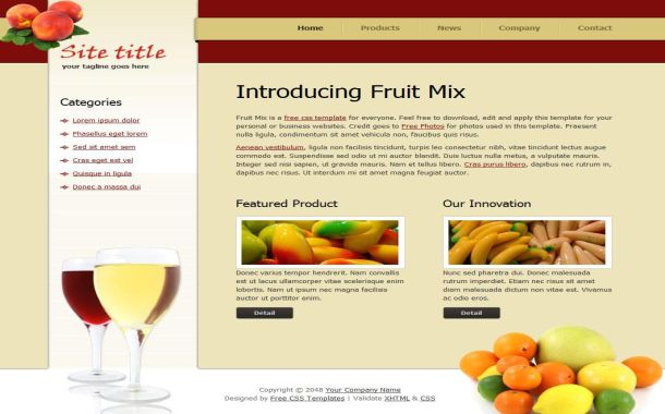 Free Health Fruits Red Yellow CSS Website Template