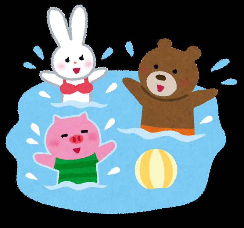 カード カードフレーム素材無料 : プールや海で楽しそうに水遊び ...