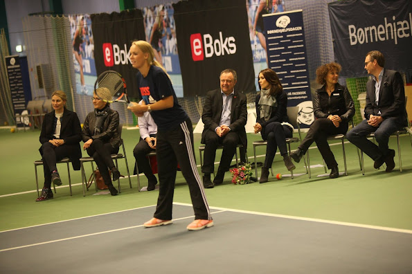 Crown Princess Mary of Denmark attended the Childrens Aid Day tennis-events with Caroline Wozniacki in Frederiksberg