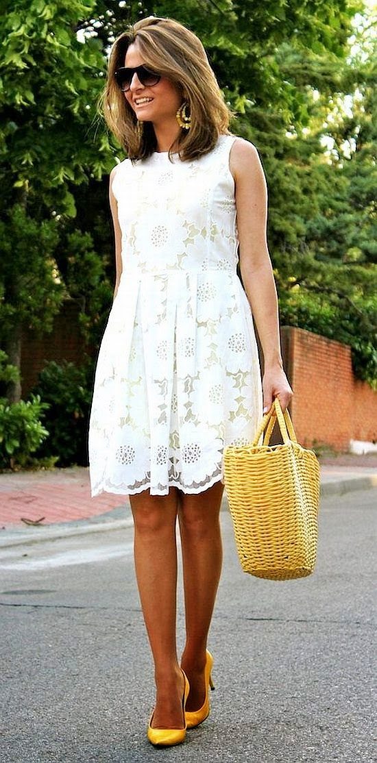 street style: white lace dress and yellow shoes