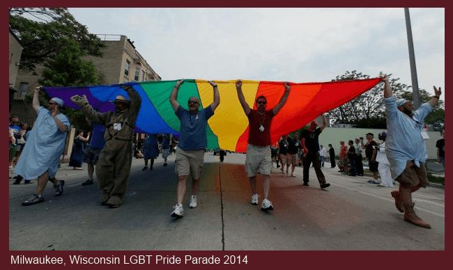 Milwaukee Gay Pride Parade Rainbow Banner 2014