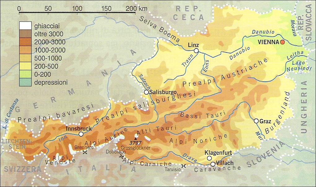 Risultati immagini per mappa dell'austria fisica