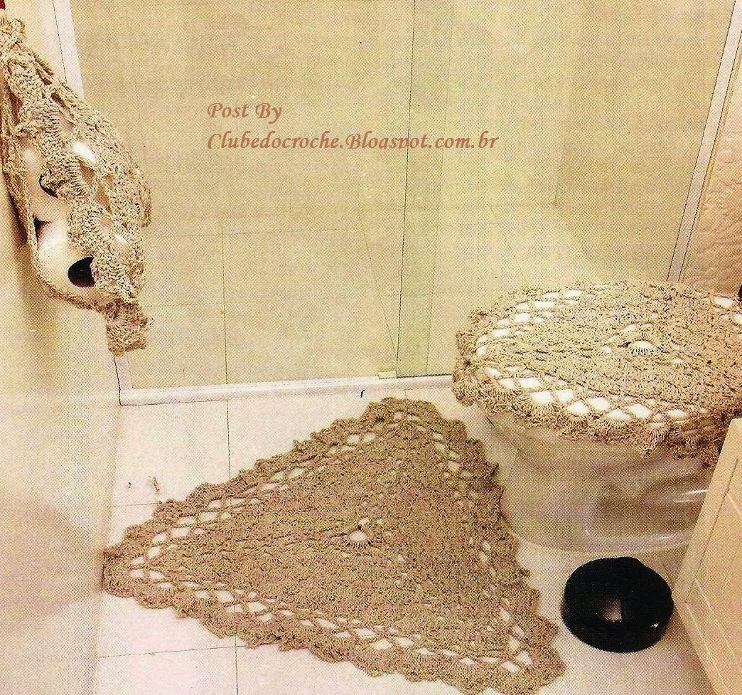 Clube do Crochê: Jogo de Banheiro Triangular (com gráfico) #937538 1044x977 Acessorios Banheiro Online
