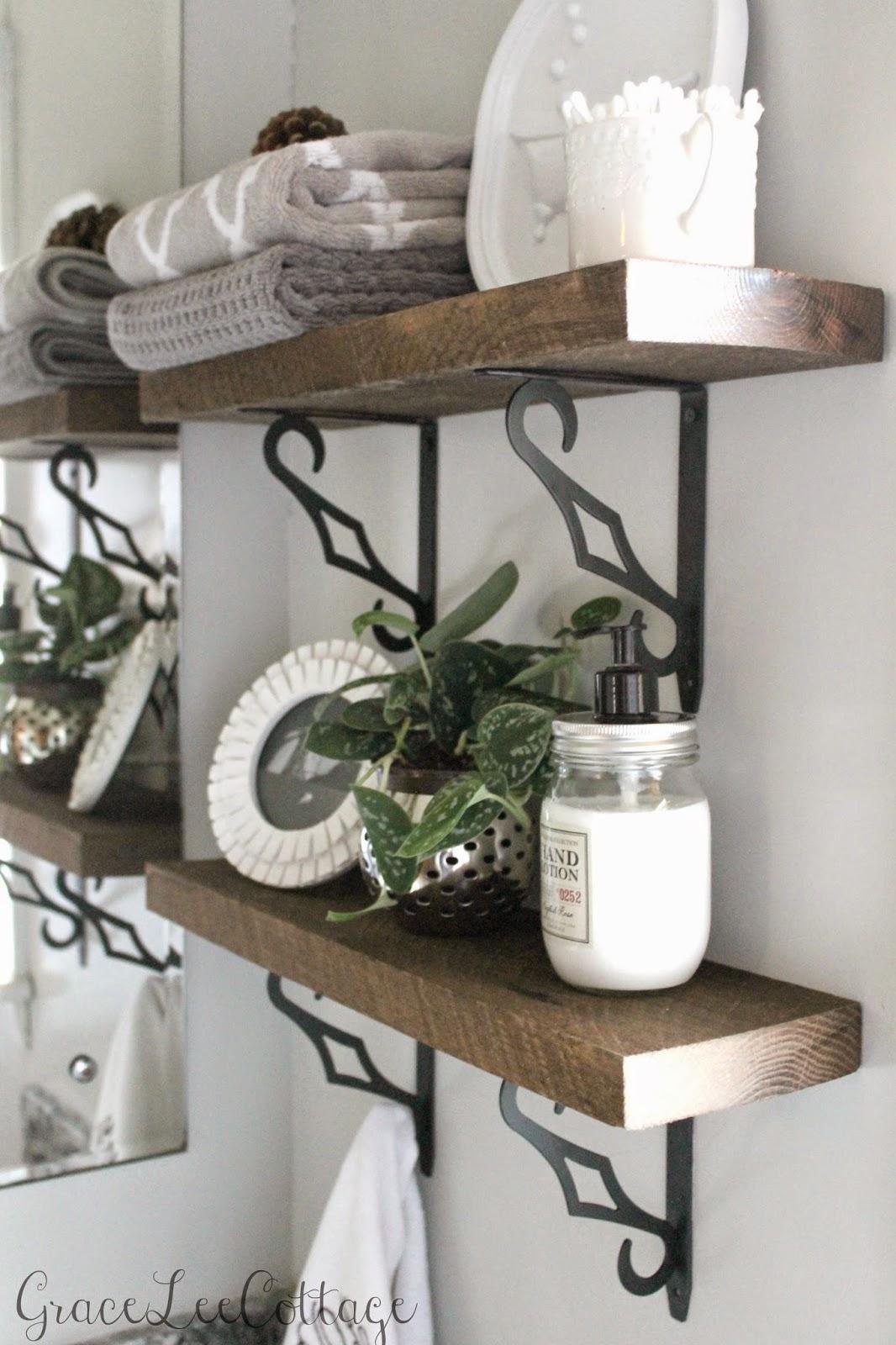 Grace lee cottage diy rustic bathroom shelves for Shelves in a bathroom