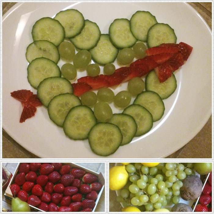 Cucumber, strawberries, grapes