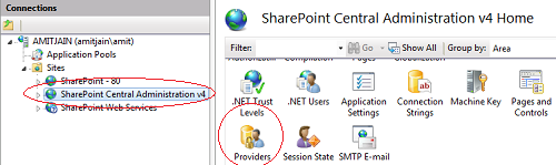 SharePoint Central Administration v4 providers
