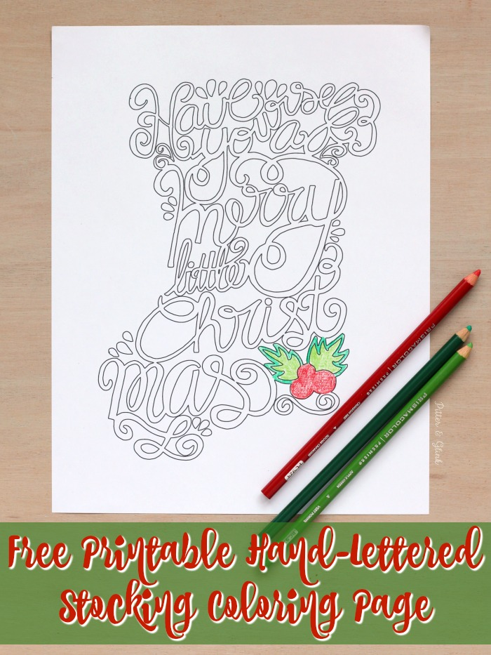 free printable hand lettered stocking coloring page wwwpitterandglinkcom