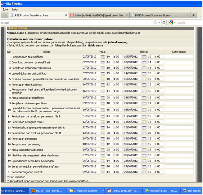 Pengadaan Barang Jasa Penyusunan Jadwal Konsultan
