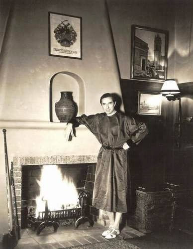 Horror star great Bela Lugosi at home.
