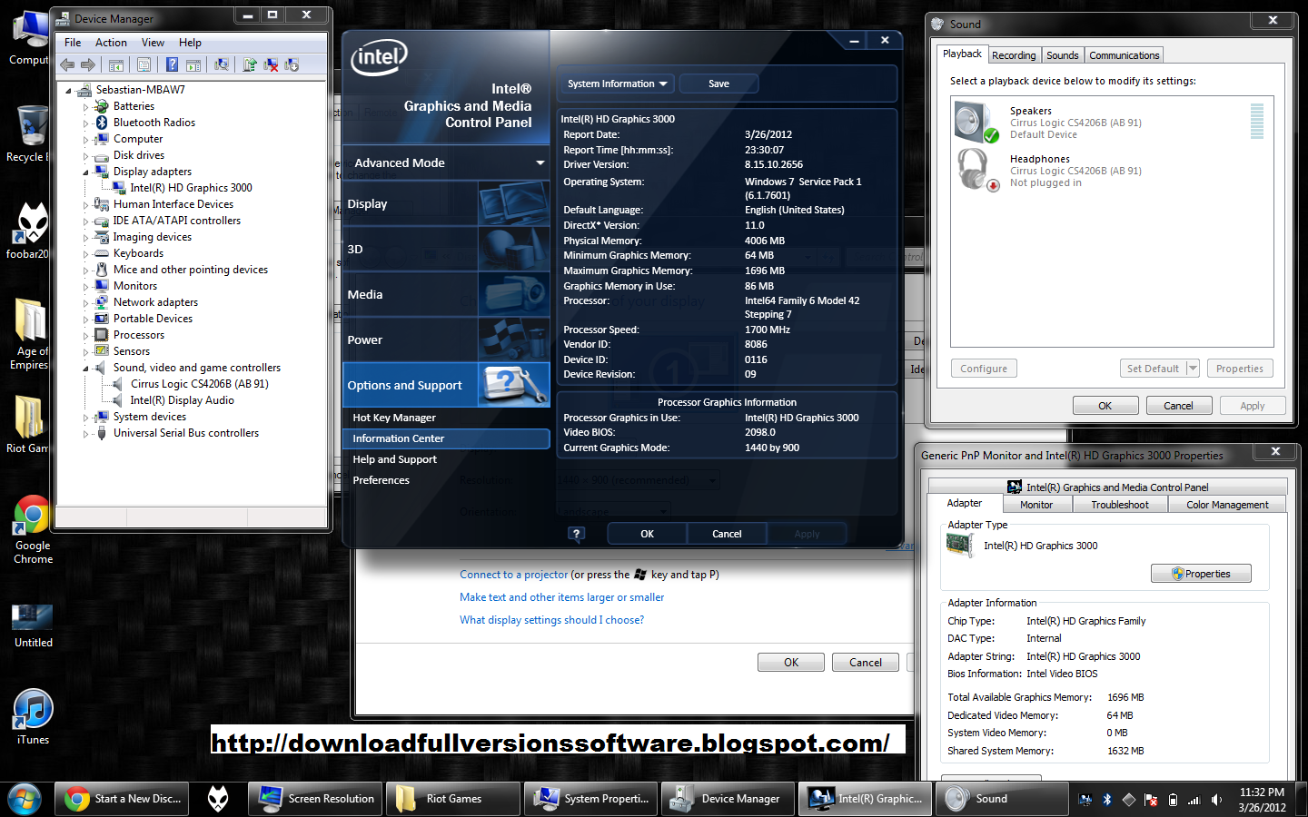 download drivers intel(r) hd graphics family