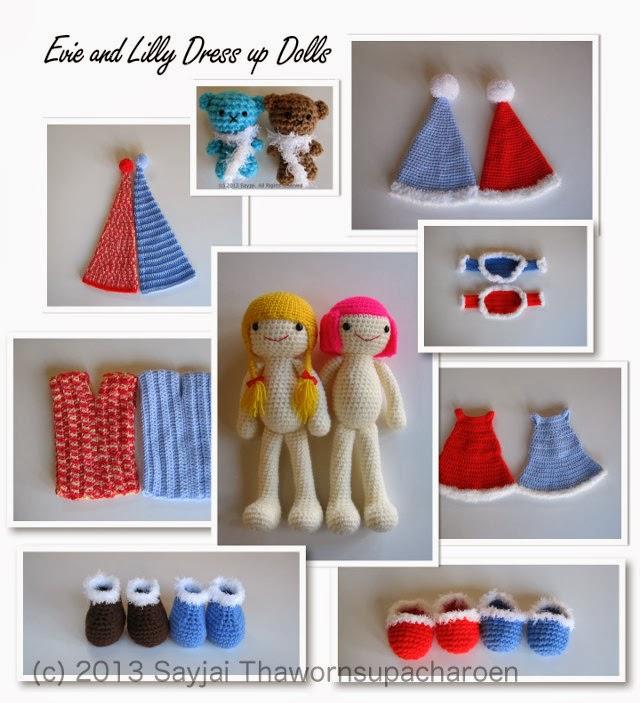 Amigurumi Dress Up Dolls : Evie and Lilli Dress up Dolls - Sayjai Amigurumi Crochet ...
