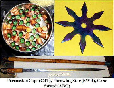 Percussion Caps - Throwing Star & Cane Sword