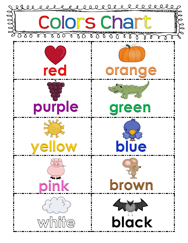 Revered image with regard to color words printable
