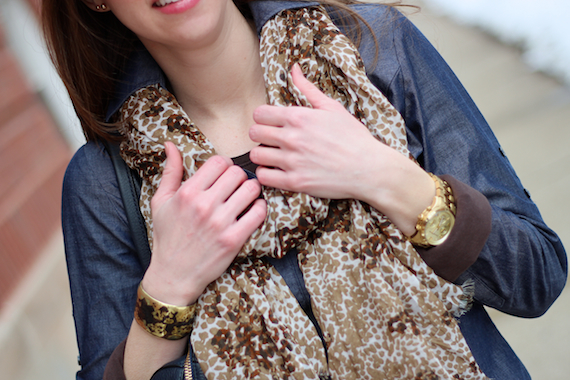 Leopard Scarf, Chambray, Gold Accessories   StyleSidebar