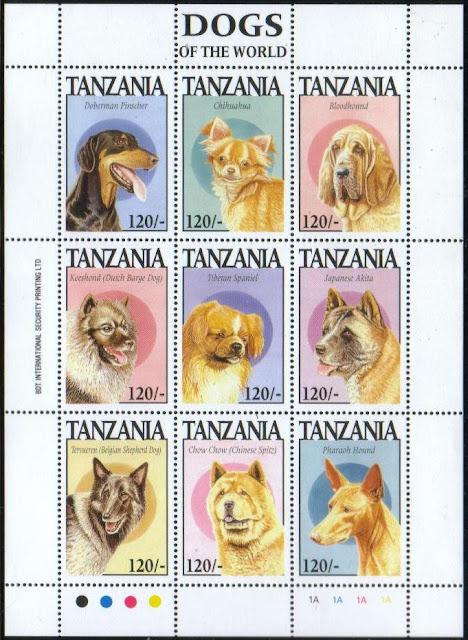 1994年タンザニア連合共和国 ドーベルマン・ピンシャー チワワ ブラッドハウンド キースホンド チベタン・スパニエル 秋田犬 ベルジアン・シェパード・ドッグ(タービュレン) チャウ・チャウ ファラオ・ハウンドの切手シート