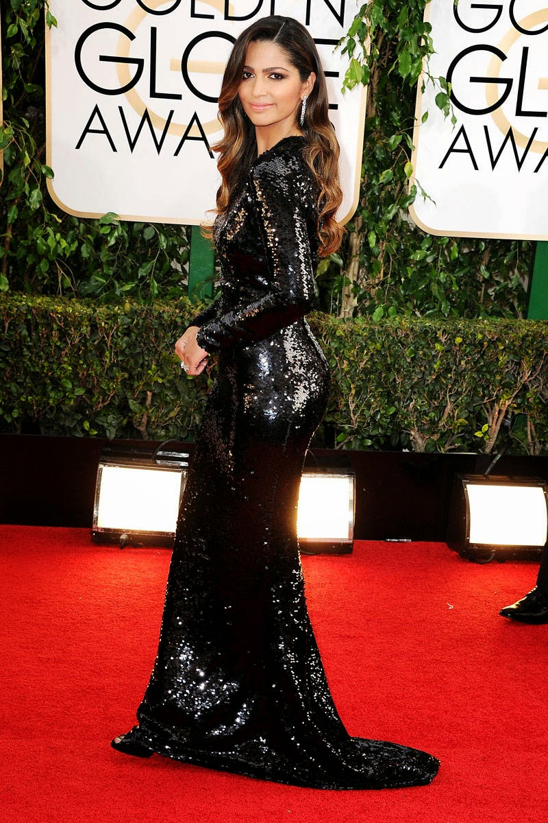 Camila Alves in Dolce & Gabbana. Here's a black sequin modest maxi gown