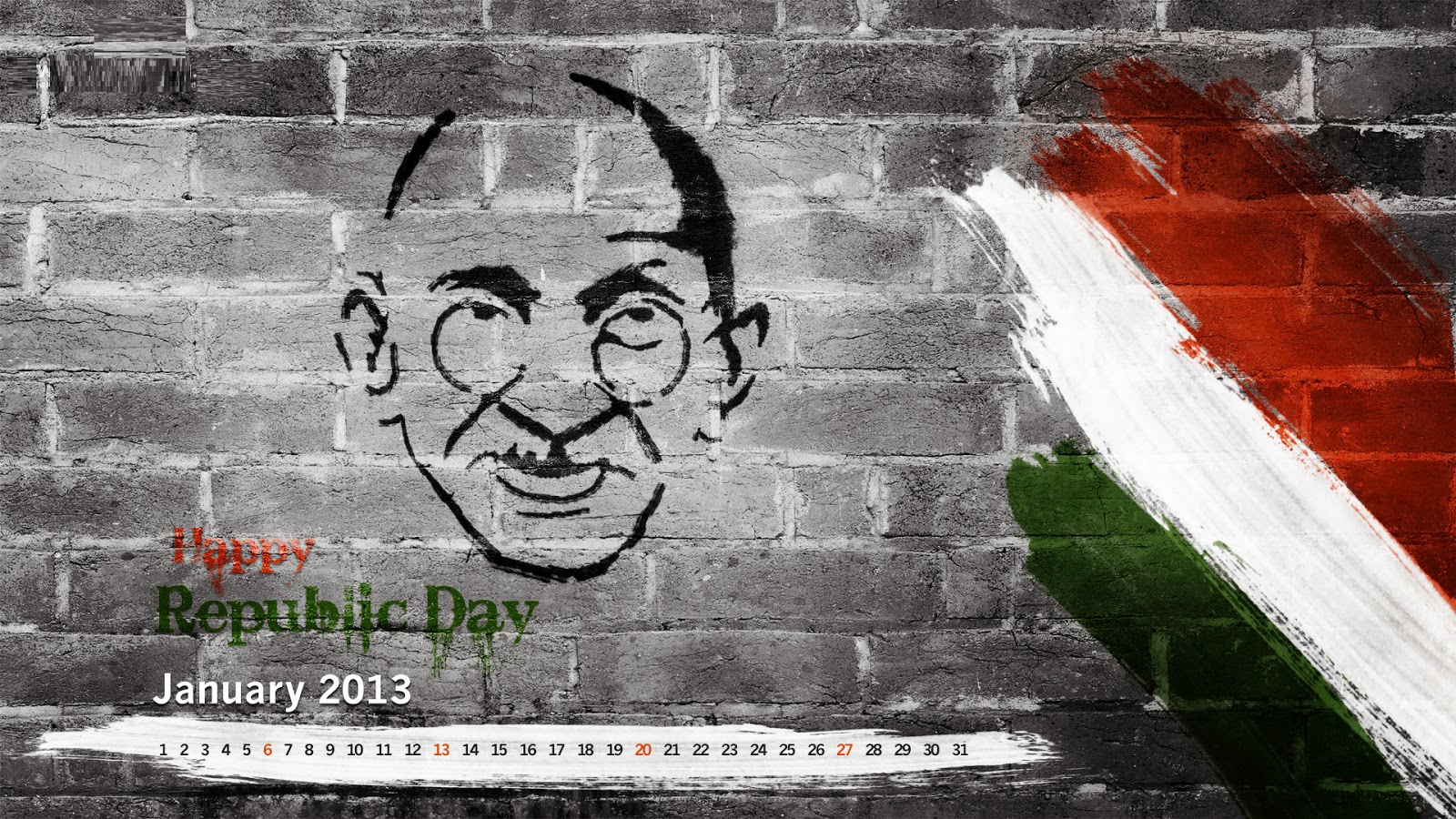 Cute Art for Republic Day With Gandhiji on Wall images photos pics