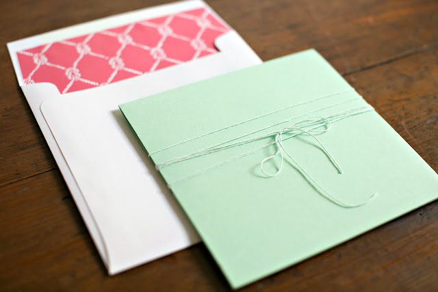 Coral and Mint Nautical Wedding Invitation