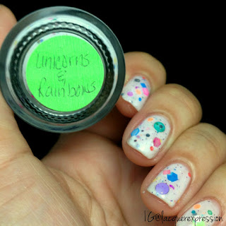 swatch of unicorns and rainbows nail polish by polish addict nail color