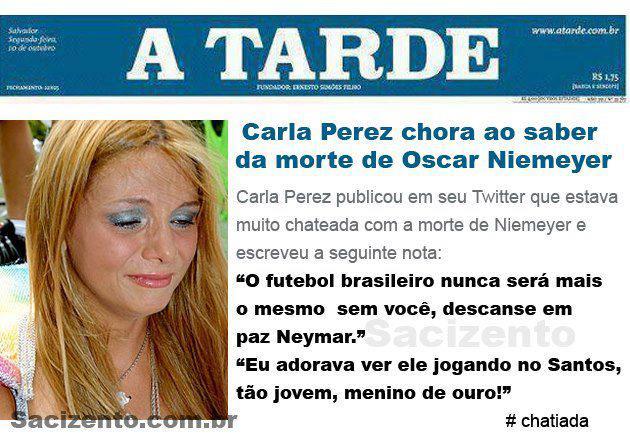 Carla Perez chora ao saber da morte de Niemeyer