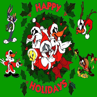 happy holidays background layout picture with Christmas decorated leaves and cartoon characters wearing Santa Claus dress wishing happy holidays