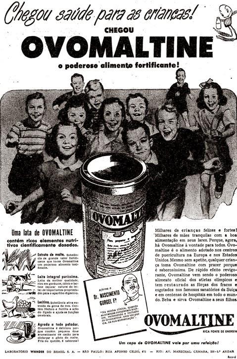 Propaganda do Ovomaltine de 1954. Achocolatado como indicação para fortalecimento de crianças.