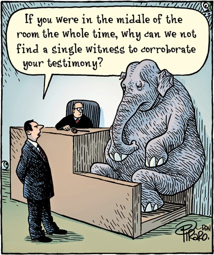 Dan Piraro - Bizarro: elephant in court.