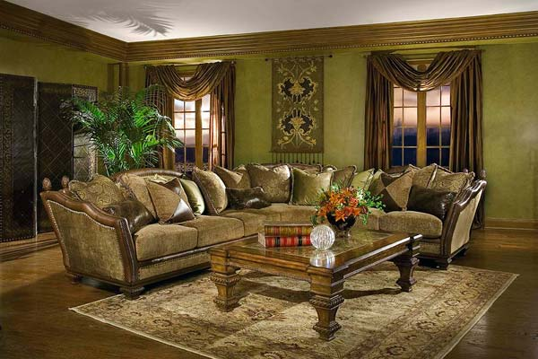 Astonishing and elegant living room sectionals curtains for Olive green living room ideas
