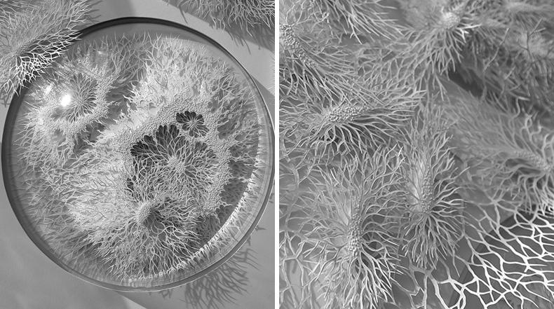 Microbios y agentes patógenos de papel cortados a mano
