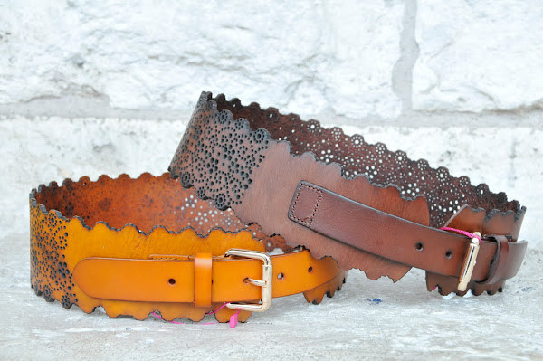 pierced and scalloped leather belts, $68