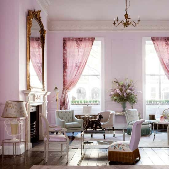 Sala De Estar Gris ~ sala de estar rosa y gris
