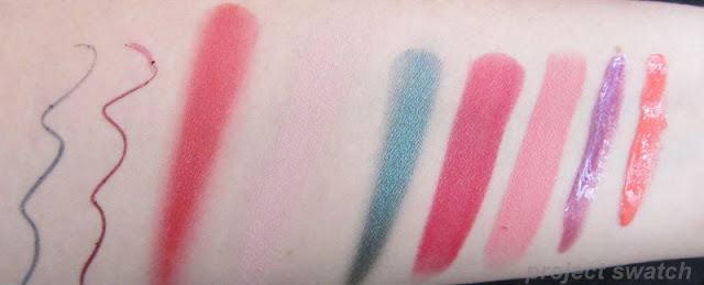 Adamant pencil; Severe pencil; Brazen cream blush, Crumble cream eyeshadow, Stoic liquid mental Drench lipstick, Fable lipstick, Tantrum lip gloss, Mistress lip gloss