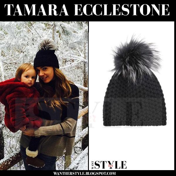 Tamara Ecclestone in black knit fur pom pom Invernie beanie what she wore