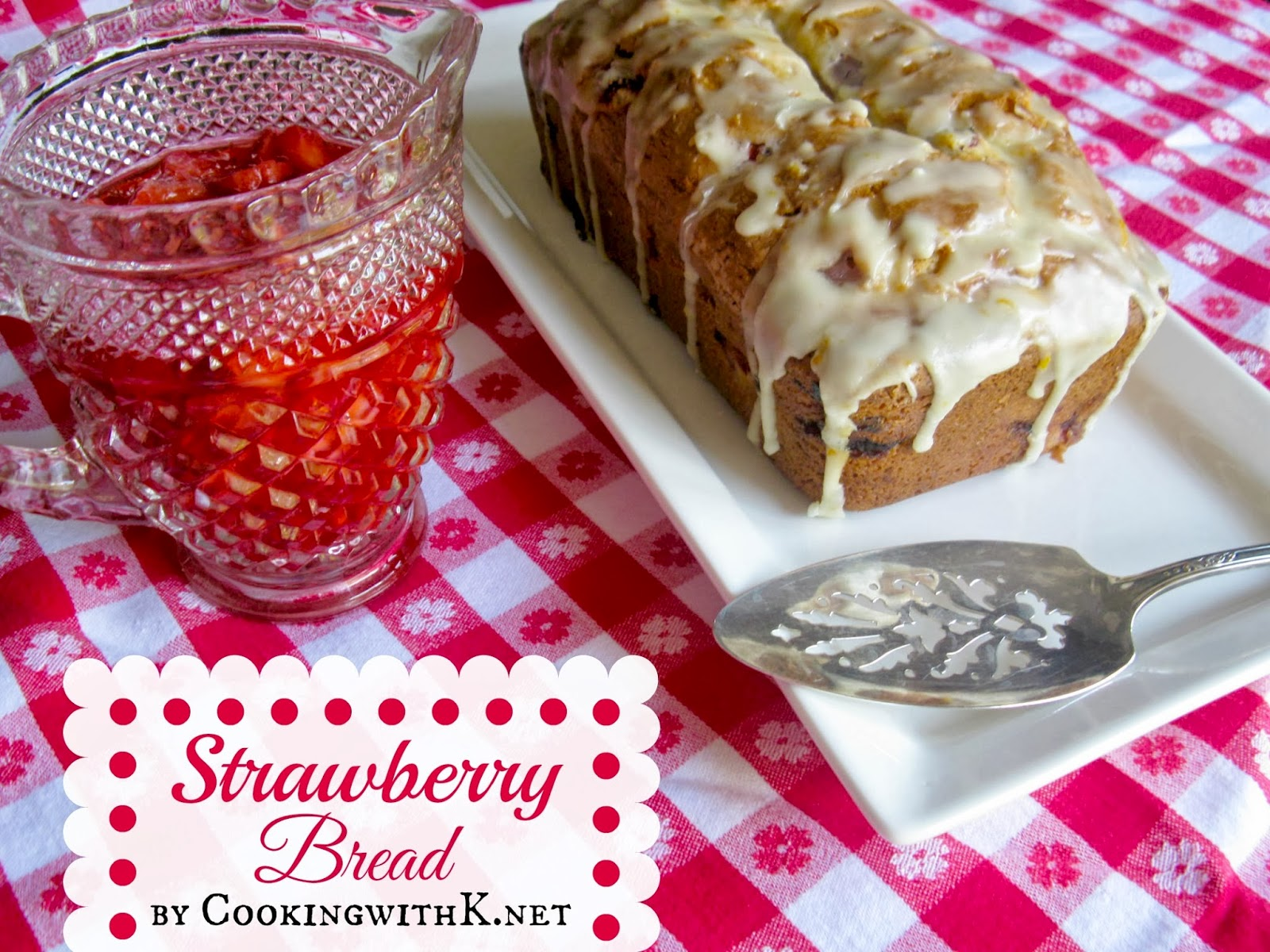 strawberry quick bread with a chunky strawberry sauce
