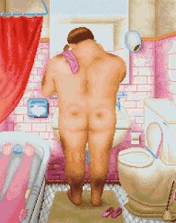 Grafico de punto de cruz del cuadro de Botero El baño hombre