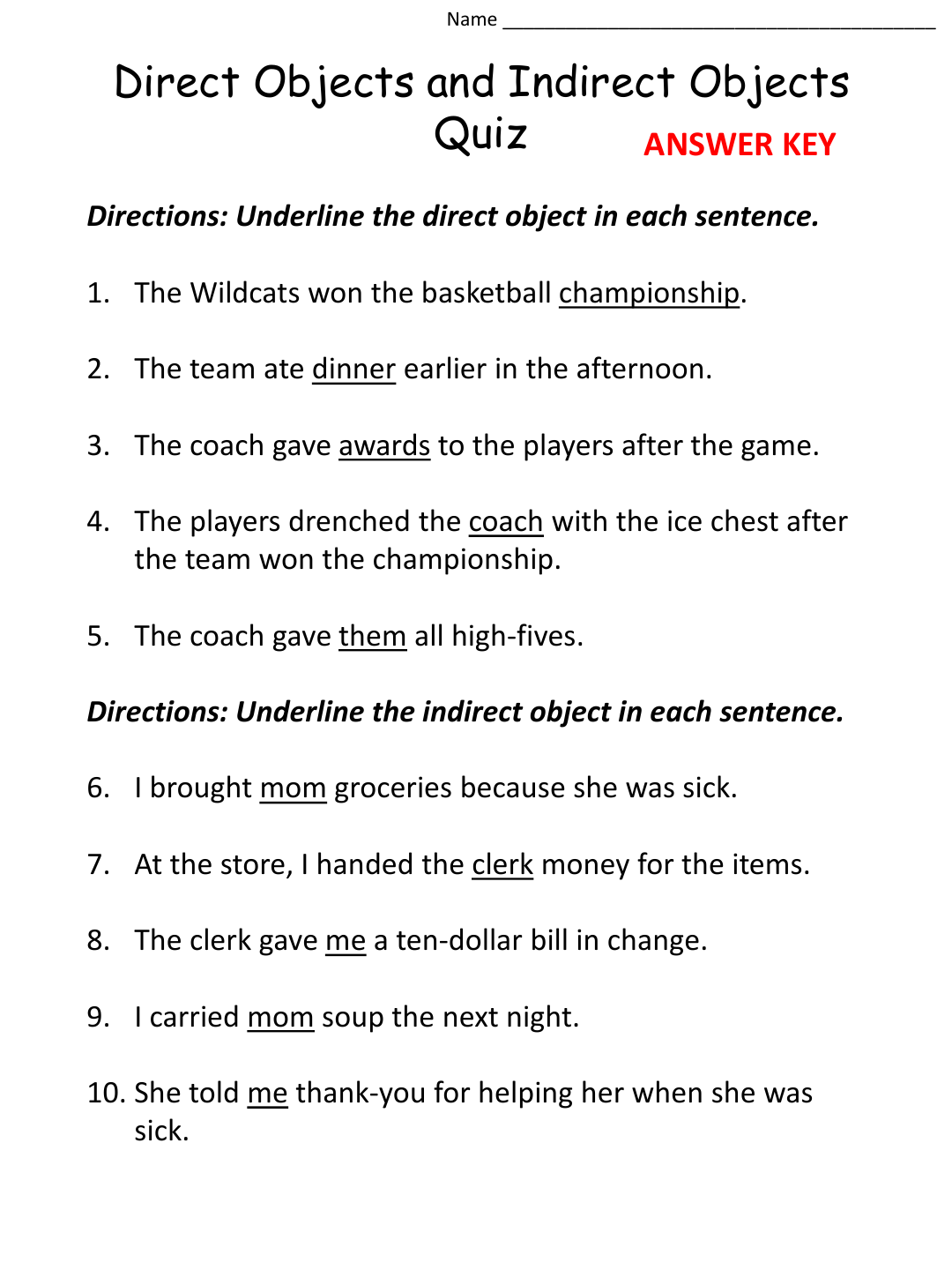 Worksheets Direct And Indirect Object Worksheets direct and indirect objects worksheets