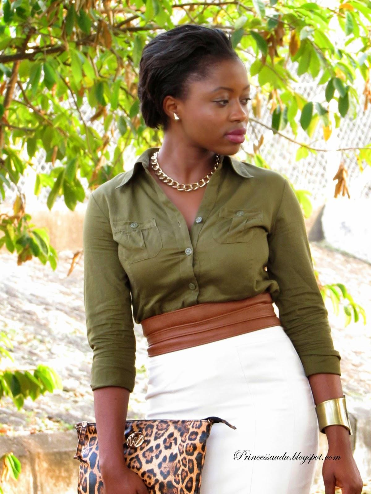 beige pencil skirt, Zara nude ankle strap sandals,khaki, leopard print clutch, army green shirt