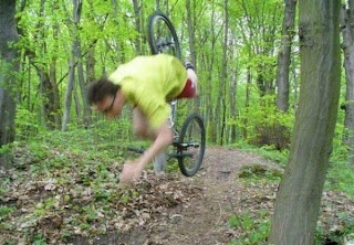 Funny picture: Bicycle Accident in the forest