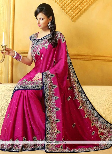 Epitome Pink Satin Wedding Wear Saree Designs